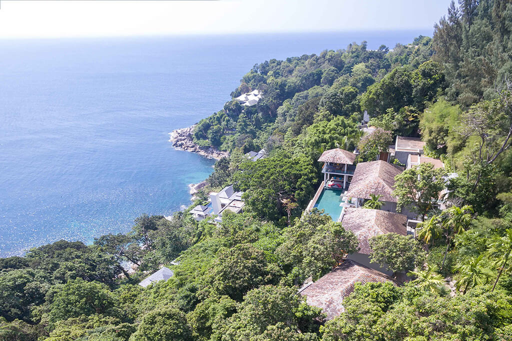 Baan Banyan - Aerial view of villa and neighbourhood